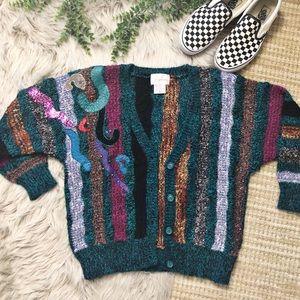Vintage Multi Colored Baggy Sweater Cardigan SZ M